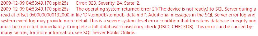 SQL Error 823