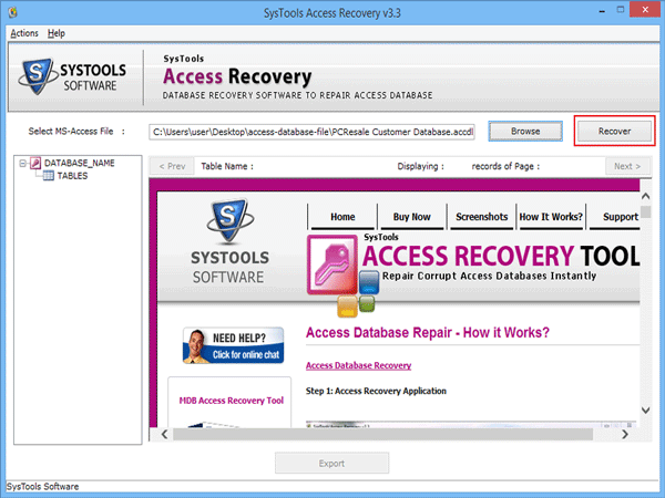 Execute recovery option