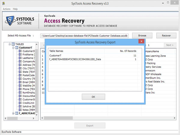 Recovered database exported