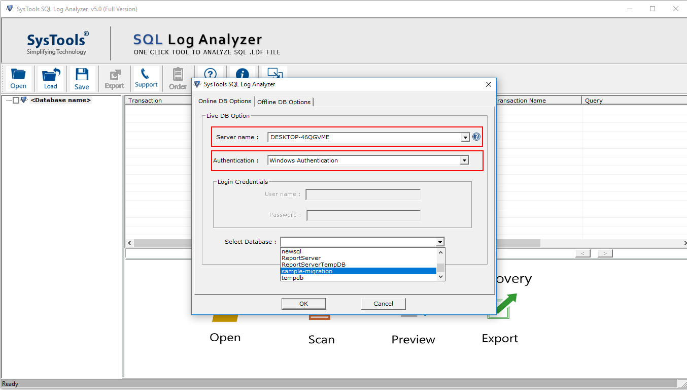 SQL Log Analyzer Tool to View Database Transaction Log