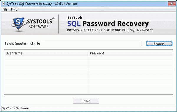 Free SQL Server Password Recovery Tool screenshot.